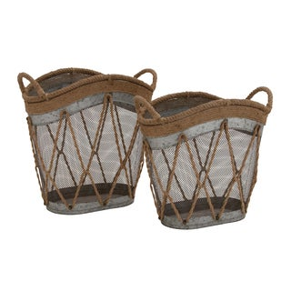 Farmhouse Iron and Burlap Oval Baskets (Set of 2)