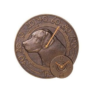 Whitehall Labrador Thermometer Clock - French Bronze