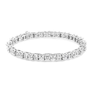 14k White Gold 4 1/10ct TDW Baguette and Round Diamond Bracelet (H-I, I1-I2)