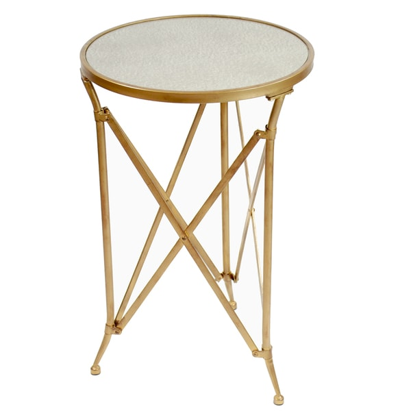 Mercury Glass Top Metal Table, 26-inch Tall Antique Gold