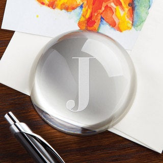 Personalized Initial Optic Glass Paperweight