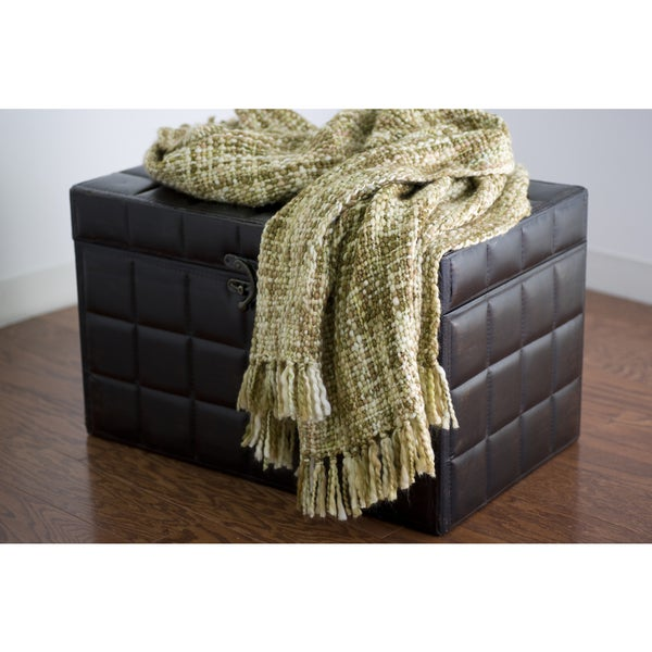 Rizzy Home Cream And Brown Decorative Throw