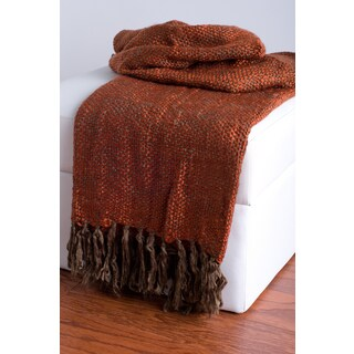 Rizzy Home Rust Decorative Throw