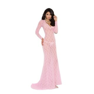 Elegant Moments Women's Long Sleeve Deep V Front Lace Gown