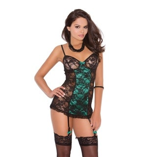 Elegant Moments Women's Lace Chemise with Lace Over Satin Center Panels