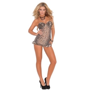 Elegant Moments Women's Mesh Babydoll with Ruffle Trim and G-string