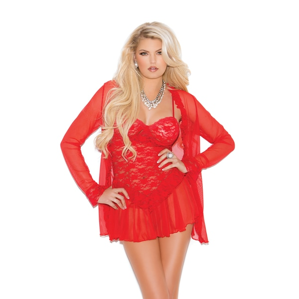 Elegant Moments Women's Lace Babydoll/ G-string and Matching Long Sleeve Mesh Jacket