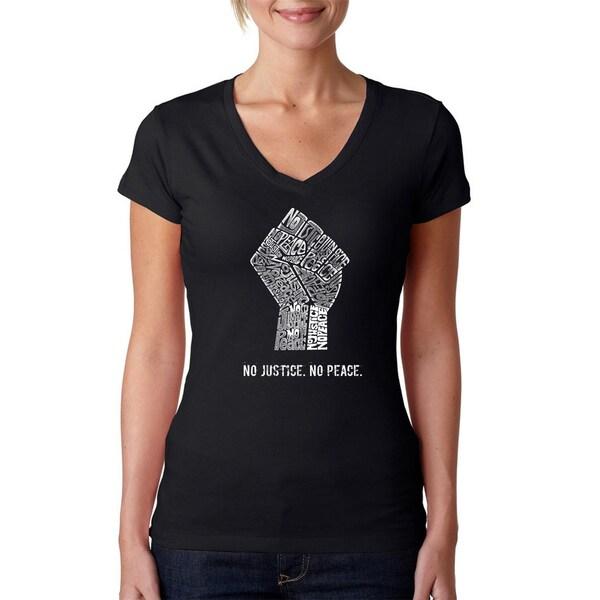 La Pop Art Women's No Justice No Peace V-neck Graphic T-shirt