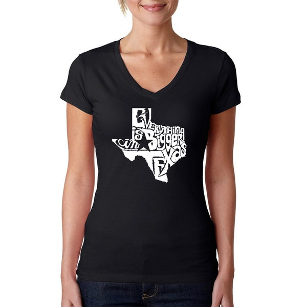 La Pop Art Women's Everything Is Bigger in Texas V-neck Graphic T-shirt