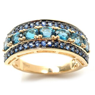 14k Yellow Gold 2ct London Blue Topaz and Sapphire Band Ring