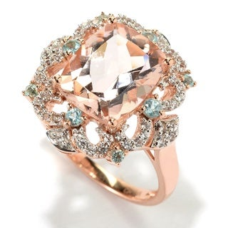 14k Rose Gold 3 7/8ct Morganite Blue Apatite and White Zircon Ring