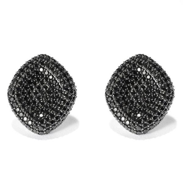 Sterling Silver 11 2/3ct Black Spinel Stud Earrings
