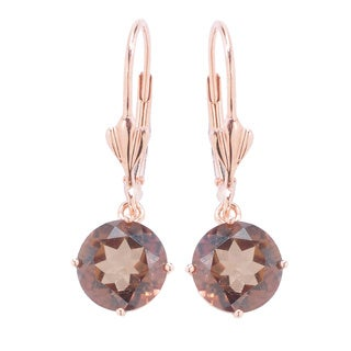14k Rose Gold 4 7/8ct Chocolate Topaz Lever Drop Dangle Earrings