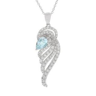 Sterling Silver 3 2/5ct Aquamarine and White Zircon Angel Wing Necklace