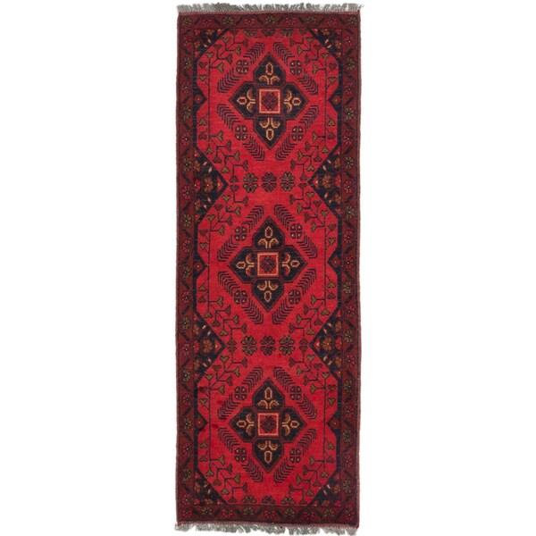 Ecarpetgallery Finest Khal Mohammadi Red Wool Geometric rug Runner (1'8 x 4'11)