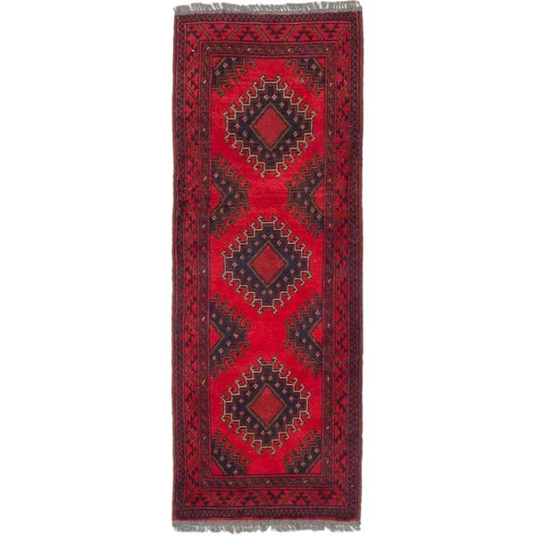 Ecarpetgallery Finest Khal Mohammadi Red Wool Geometric rug Runner (1'9 x 4'8)