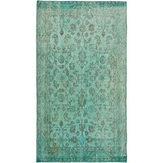 Ecarpetgallery Anatolian Overdyed Light Dull Cyan Wool Open Field rug (3'9 x 6'8)