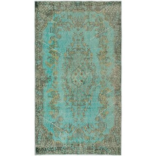 Ecarpetgallery Anatolian Overdyed Light Dull Cyan Wool Medallion rug (3'9 x 6'9)