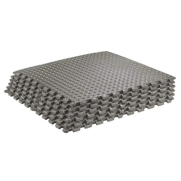 Sivan Health and Fitness Puzzle Exercise Mat High Quality EVA Foam Interlocking Tiles-Grey