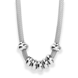 ELYA Stainless Steel Beaded and Mesh Necklace