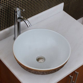 Elite 1567 882002 Round White Glaze Porcelain Ceramic Bathroom Vessel Sink With Faucet Combo