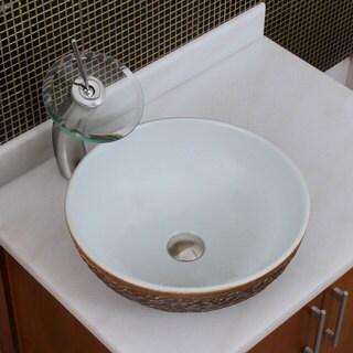 Elite 1567 F22T Round White Glaze Porcelain Ceramic Bathroom Vessel Sink Waterfall Faucet Combo
