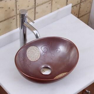 ELITE 1566 F371023 Oval Mohogany Glaze Porcelain Ceramic Bathroom Vessel Sink With Faucet Combo