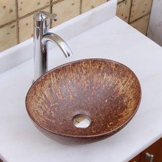 ELITE 1564 882002 Oval Matt Iron Ore Glaze Porcelain Ceramic Bathroom Vessel Sink With Faucet Combo