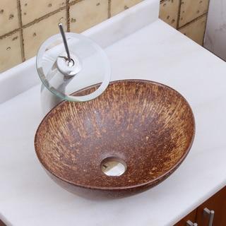 ELITE 1564 F22T Oval Matt Iron Ore Glaze Porcelain Ceramic Bathroom Vessel Sink Waterfall Faucet Combo