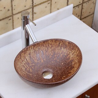 Elite 1564 2659 Oval Matt Iron Ore Glaze Porcelain Ceramic Bathroom Vessel Sink With Faucet Combo