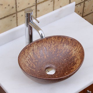 Elite 1564 F371023 Oval Matt Iron Ore Glaze Porcelain Ceramic Bathroom Vessel Sink With Faucet Combo