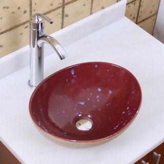 Elite 1563 882002 Oval Ruby Glaze Porcelain Ceramic Bathroom Vessel Sink With Faucet Combo
