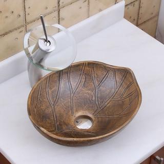 Elite 1562 F22T Oval Matt Glaze Autumn Leave Style Porcelain Ceramic Bathroom Vessel Sink Waterfall Faucet Combo