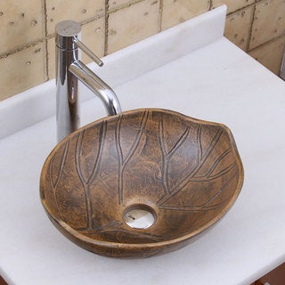 ELITE 1562 F371023 Oval Matt Glaze Autumn Leave Style Porcelain Ceramic Bathroom Vessel Sink With Faucet Combo