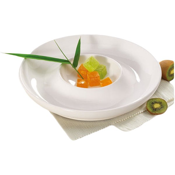 Alpine Cuisine White 11.5-inch Ceramic Chip and Dip Platter