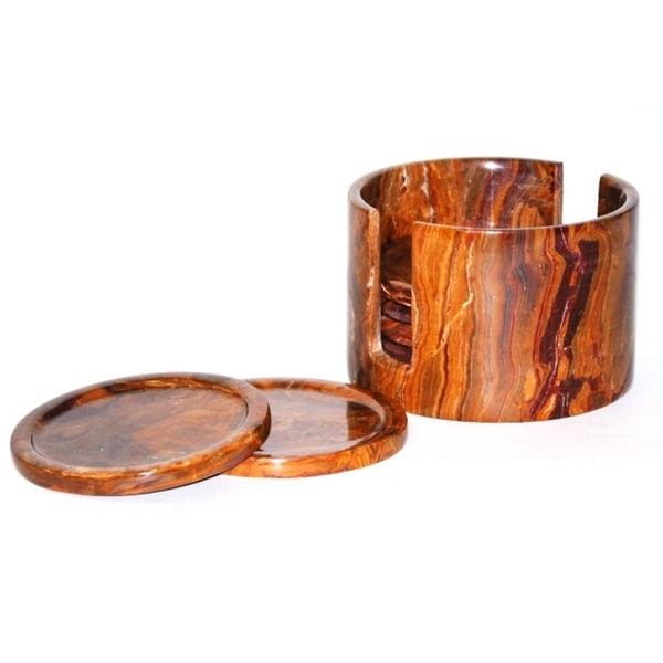 Multi Onyx Coasters with Round Holder (Set of 6)