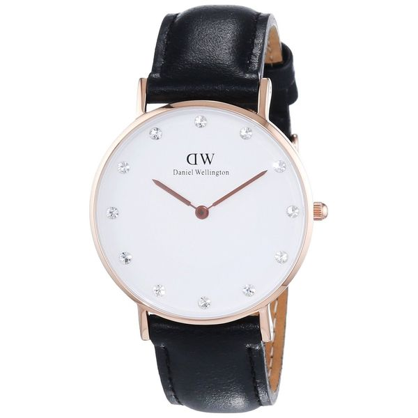 Daniel Wellington Women's 0951DW 'Sheffield' Crystal Black Leather Watch