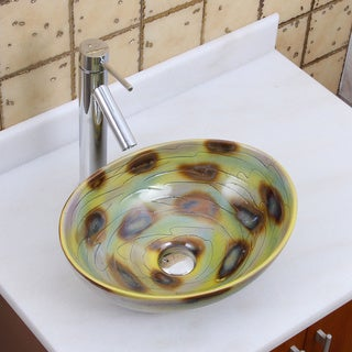 Elite 1560 2659 Oval Magic Color Glaze Porcelain Ceramic Bathroom Vessel Sink With Faucet Combo