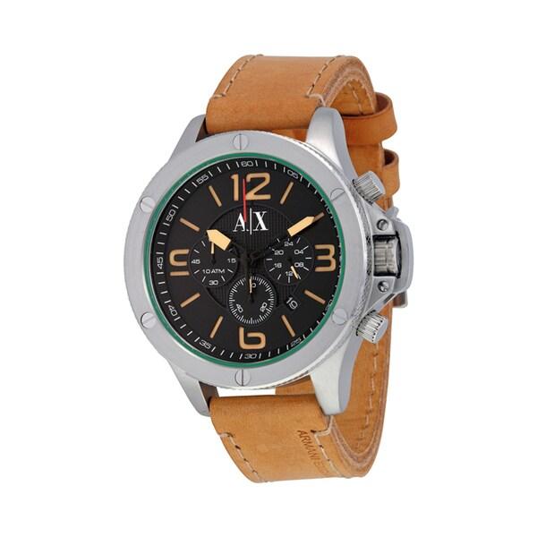 Armani Exchange Men's AX1516 Chronograph Brown Leather Watch