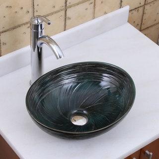 ELITE 1559 882002 Oval Dark Green Glaze Porcelain Ceramic Bathroom Vessel Sink With Faucet Combo