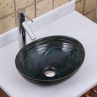 ELITE 1559 2659 Oval Dark Green Glaze Porcelain Ceramic Bathroom Vessel Sink With Faucet Combo
