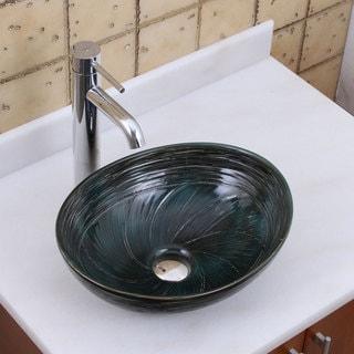 ELITE 1559 F371023 Oval Dark Green Glaze Porcelain Ceramic Bathroom Vessel Sink With Faucet Combo