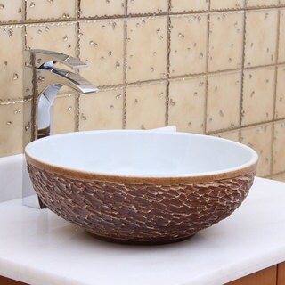 ELITE 1567 Round White Glaze Porcelain Ceramic Bathroom Vessel Sink