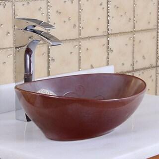 ELITE 1566 Oval Mohogany Glaze Porcelain Ceramic Bathroom Vessel Sink