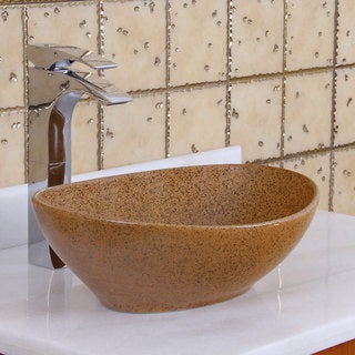 Elite 1565 Oval Sandstone Glaze Porcelain Ceramic Bathroom Vessel Sink