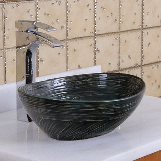 Elite 1559 Oval Dark Green Glaze Porcelain Ceramic Bathroom Vessel Sink