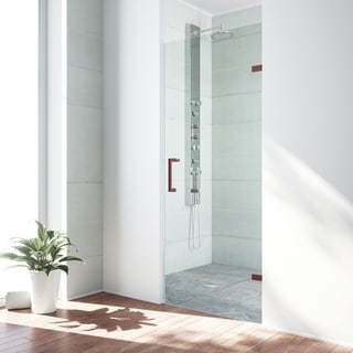 VIGO SoHo 24-inch Adjustable Frameless Shower Door with Clear Glass and Oil Rubbed Bronze Hardware