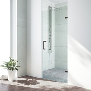 VIGO SoHo 26-inch Adjustable Frameless Shower Door with Clear Glass and Antique Rubbed Bronze Hardware