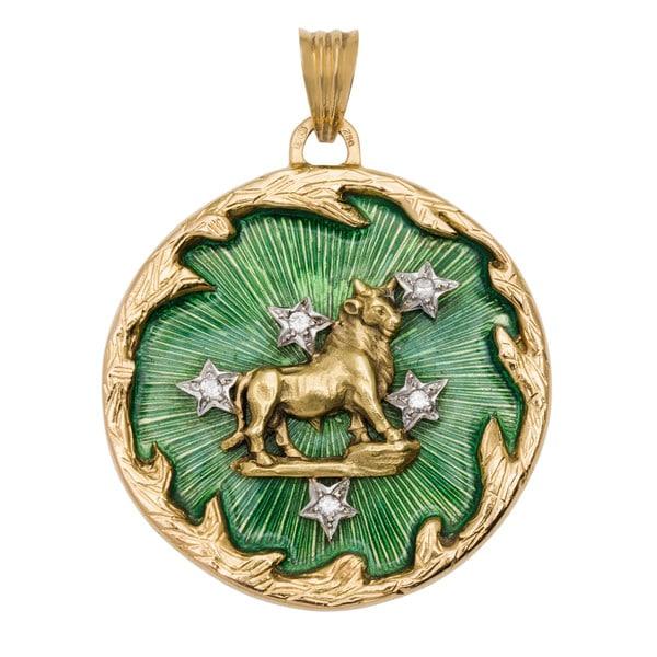 18k Yellow Gold 1/4ct TDW Diamond Enameled Astrological Taurus Estate Pendant (H-I, SI1-SI2)