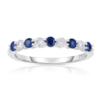 Eloquence 14k White Gold 1/2ct TW Diamond and Sapphire Wedding Ring (H-I, Sapphire, I1-I2)